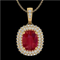 3.15 CTW Ruby & Micro Pave VS/SI Diamond Halo Necklace 18K Yellow Gold - REF-90W9F - 20418