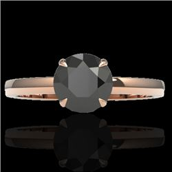 2 CTW Black VS/SI Diamond Designer Inspired Engagement Ring 14K Rose Gold - REF-59F3N - 22214