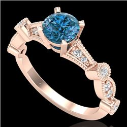 1.03 CTW Fancy Intense Blue Diamond Solitaire Art Deco Ring 18K Rose Gold - REF-114X5T - 37678