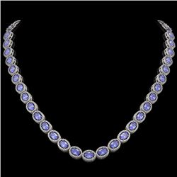 31.96 CTW Tanzanite & Diamond Halo Necklace 10K White Gold - REF-604F2N - 40409