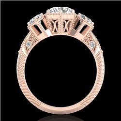 1.66 CTW VS/SI Diamond Solitaire Art Deco 3 Stone Ring 18K Rose Gold - REF-445T5M - 37224