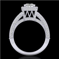 3.5 CTW Princess VS/SI Diamond Solitaire Micro Pave Ring 18K White Gold - REF-581T8M - 37166