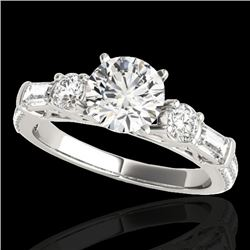 2 CTW H-SI/I Certified Diamond Pave Solitaire Ring 10K White Gold - REF-221H8A - 35471