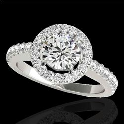 1.65 CTW H-SI/I Certified Diamond Solitaire Halo Ring 10K White Gold - REF-259T3M - 33472
