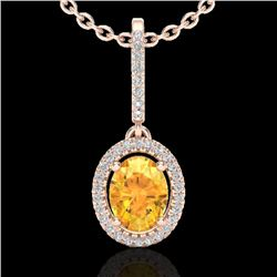1.75 CTW Citrine & Micro Pave VS/SI Diamond Necklace Halo 14K Rose Gold - REF-51H8A - 20655