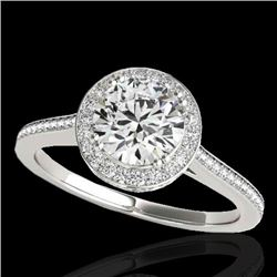 2.03 CTW H-SI/I Certified Diamond Solitaire Halo Ring 10K White Gold - REF-373M8H - 33535