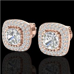 2.16 CTW Micro Pave VS/SI Diamond Earrings Solitaire Double Halo 14K Rose Gold - REF-238M2H - 20341