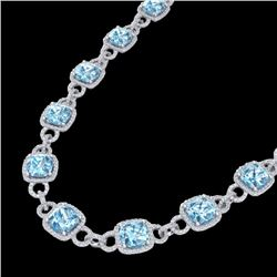 66 CTW Topaz & Micro VS/SI Diamond Eternity Necklace 14K White Gold - REF-805H3A - 23052