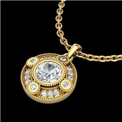 1.01 CTW VS/SI Diamond Solitaire Art Deco Necklace 18K Yellow Gold - REF-221F8N - 36985