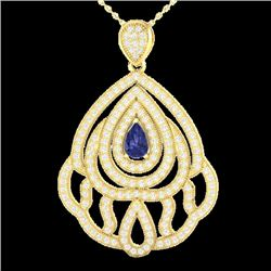 2 CTW Tanzanite & Micro Pave VS/SI Diamond Designer Necklace 18K Yellow Gold - REF-178N2Y - 21275