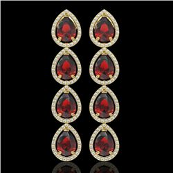 9.25 CTW Garnet & Diamond Halo Earrings 10K Yellow Gold - REF-151W3F - 41329