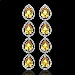 9.2 CTW Fancy Citrine & Diamond Halo Earrings 10K White Gold - REF-154Y2K - 41324