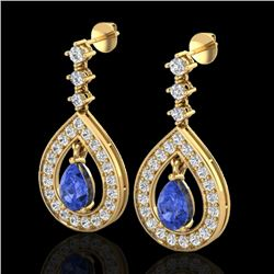 2.25 CTW Tanzanite & Micro Pave VS/SI Diamond Earrings Designer 14K Yellow Gold - REF-109T3M - 23159