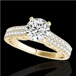 1.91 CTW H-SI/I Certified Diamond Solitaire Antique Ring 10K Yellow Gold - REF-353X3T - 34704