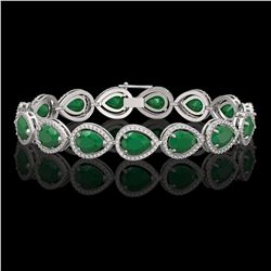30.06 CTW Emerald & Diamond Halo Bracelet 10K White Gold - REF-393N3Y - 41234