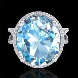 12 CTW Sky Blue Topaz & Micro Pave VS/SI Diamond Halo Ring 18K White Gold - REF-84H2A - 20955