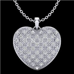 1.0 Designer CTW Micro Pave VS/SI Diamond Heart Necklace 14K White Gold - REF-87H3A - 20490