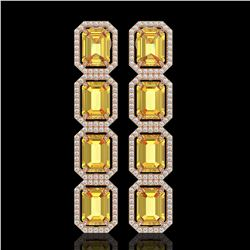 18.64 CTW Fancy Citrine & Diamond Halo Earrings 10K Rose Gold - REF-184X2T - 41613