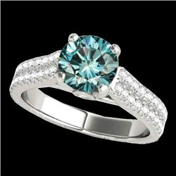 1.61 CTW Si Certified Fancy Blue Diamond Pave Ring 10K White Gold - REF-180A2X - 35462