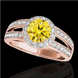 1.6 CTW Certified Si/I Fancy Intense Yellow Diamond Solitaire Halo Ring 10K Rose Gold - REF-180Y2K -