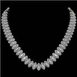 39.68 CTW Marquise Diamond Designer Necklace 18K White Gold - REF-7251A5X - 42776