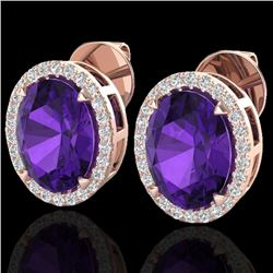 5.50 CTW Amethyst & Micro VS/SI Diamond Halo Earrings 14K Rose Gold - REF-54W8F - 20236