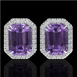 9.40 CTW Amethyst & Micro Pave VS/SI Diamond Halo Earrings 18K White Gold - REF-77W8F - 21216