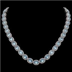 41.88 CTW Aquamarine & Diamond Halo Necklace 10K White Gold - REF-722Y4K - 40577