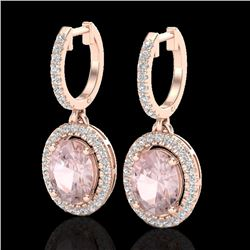 3.25 CTW Morganite & Micro Pave VS/SI Diamond Earrings Halo 14K Rose Gold - REF-114A5X - 20327
