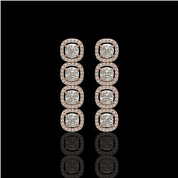 5.28 CTW Cushion Diamond Designer Earrings 18K Rose Gold - REF-981X6T - 42630