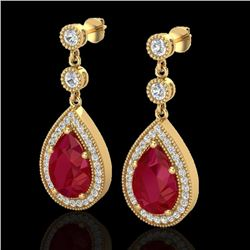 6 CTW Ruby & Micro Pave VS/SI Diamond Earrings Designer 18K Yellow Gold - REF-93H8A - 23121
