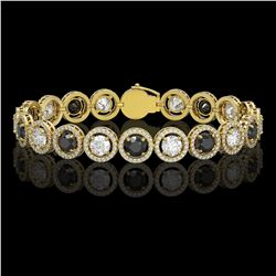 13.96 CTW Black & White Diamond Designer Bracelet 18K Yellow Gold - REF-1428T2M - 42610