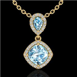 3.50 CTW Sky Blue Topaz & Micro VS/SI Diamond Necklace Designer Halo 10K Yellow Gold - REF-45Y3K - 2