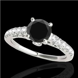 1.75 CTW Certified VS Black Diamond Solitaire Ring 10K White Gold - REF-70K9W - 34993