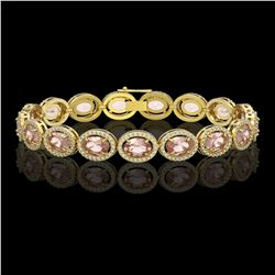 20.18 CTW Morganite & Diamond Halo Bracelet 10K Yellow Gold - REF-377N3Y - 40615