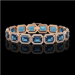 35.61 CTW London Topaz & Diamond Halo Bracelet 10K Rose Gold - REF-337T3M - 41559