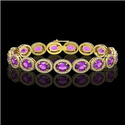 19.82 CTW Amethyst & Diamond Halo Bracelet 10K Yellow Gold - REF-249K5W - 40642