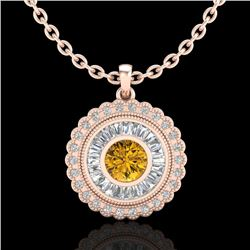 2.11 CTW Intense Fancy Yellow Diamond Art Deco Stud Necklace 18K Rose Gold - REF-227F3N - 37918