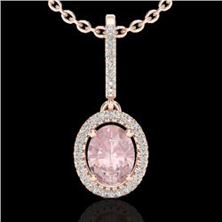 1.60 CTW Morganite & Micro VS/SI Diamond Necklace Solitaire Halo 14K Rose Gold - REF-60W4F - 20663