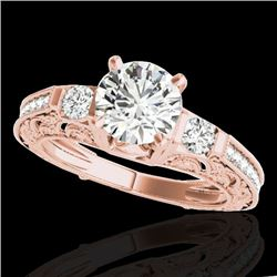 1.63 CTW H-SI/I Certified Diamond Solitaire Antique Ring 10K Rose Gold - REF-218M2H - 34649