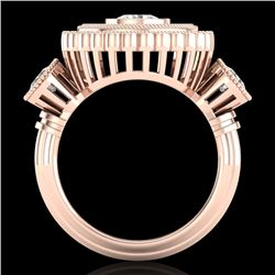 2.62 CTW VS/SI Diamond Solitaire Art Deco 3 Stone Ring 18K Rose Gold - REF-343F5N - 37089