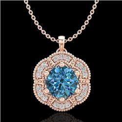 1.01 CTW Fancy Intense Blue Diamond Solitaire Art Deco Necklace 18K Rose Gold - REF-136W4F - 37972