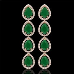 16.01 CTW Emerald & Diamond Halo Earrings 10K Rose Gold - REF-212F8N - 41283