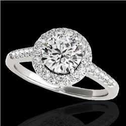 1.5 CTW H-SI/I Certified Diamond Solitaire Halo Ring 10K White Gold - REF-170H9A - 33481