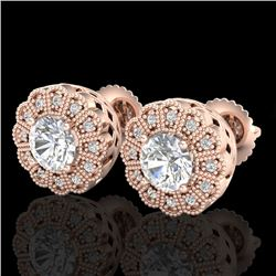 1.32 CTW VS/SI Diamond Solitaire Art Deco Stud Earrings 18K Rose Gold - REF-245A5X - 37053
