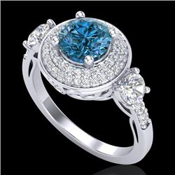 2.05 CTW Intense Blue Diamond Solitaire Art Deco 3 Stone Ring 18K White Gold - REF-300Y2K - 38146