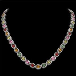 31.96 CTW Multi Color Sapphire & Diamond Halo Necklace 10K White Gold - REF-674T4M - 40448
