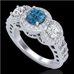 2.16 CTW Intense Blue Diamond Solitaire Art Deco 3 Stone Ring 18K White Gold - REF-270K9W - 37670