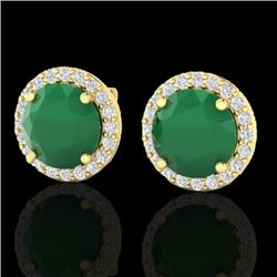 4 CTW Emerald & Halo VS/SI Diamond Micro Pave Earrings Solitaire 18K Yellow Gold - REF-80K2W - 21492