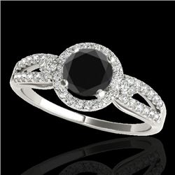 1.25 CTW Certified VS Black Diamond Solitaire Halo Ring 10K White Gold - REF-57F5N - 34090